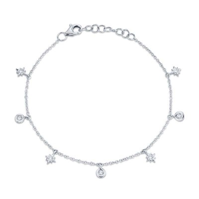 0.15ct 14k White Gold Diamond Star Bracelet