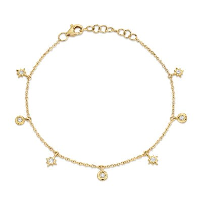 0.15ct 14k Yellow Gold Diamond Star Bracelet