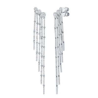 1.18ct 14k White Gold Diamond Fringe Earring