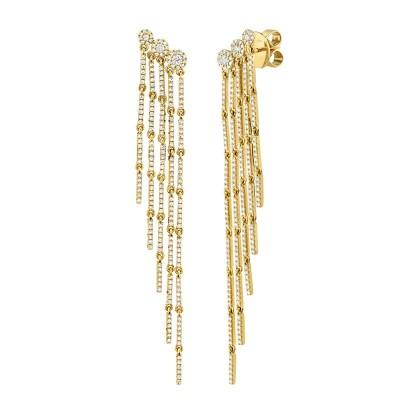 1.18ct 14k Yellow Gold Diamond Fringe Earring