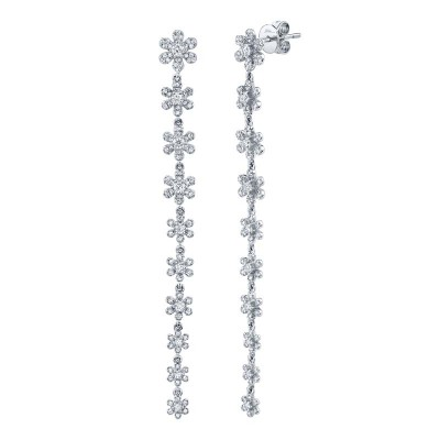 0.91ct 14k White Gold Diamond Flower Earring