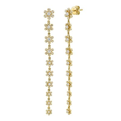 0.91ct 14k Yellow Gold Diamond Flower Earring