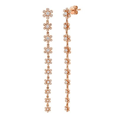 0.91ct 14k Rose Gold Diamond Flower Earring