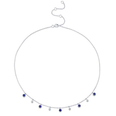 0.04ct Diamond & 0.90ct Lapis 14k White Gold Necklace