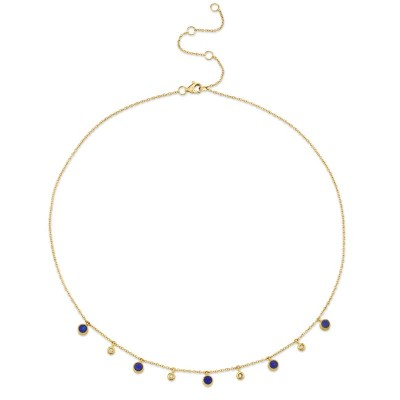 0.04ct Diamond & 0.90ct Lapis 14k Yellow Gold Necklace