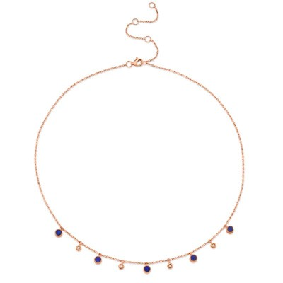 0.04ct Diamond & 0.90ct Lapis 14k Rose Gold Necklace