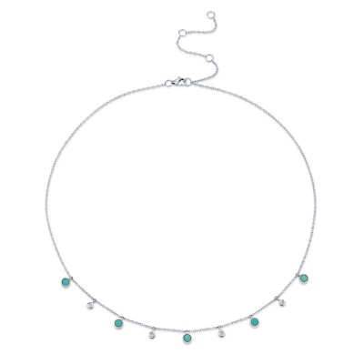 0.04ct Diamond & 0.75ct Composite Turquoise 14k White Gold Necklace