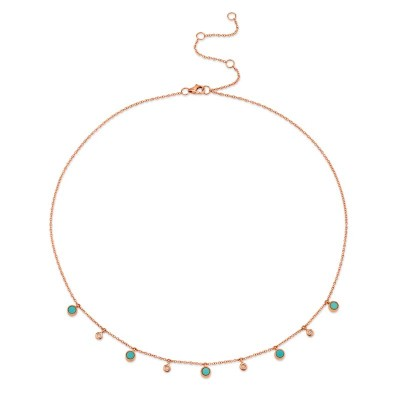 0.04ct Diamond & 0.75ct Composite Turquoise 14k Rose Gold Necklace