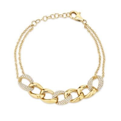 0.57ct 14k Yellow Gold Diamond Pave Chain Bracelet