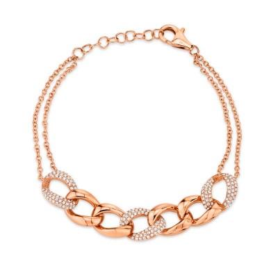 0.57ct 14k Rose Gold Diamond Pave Chain Bracelet