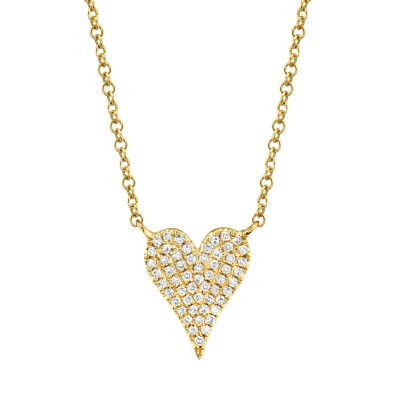 0.11ct 14k Yellow Gold Diamond Pave Heart Necklace