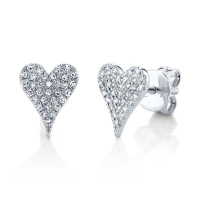 0.14ct 14k White Gold Diamond Pave Heart Stud Earring