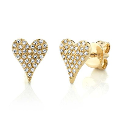 0.14ct 14k Yellow Gold Diamond Pave Heart Stud Earring