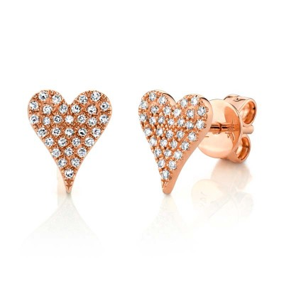 0.14ct 14k Rose Gold Diamond Pave Heart Stud Earring