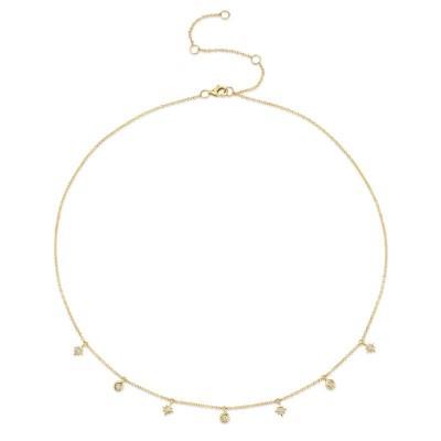 0.15ct 14k Yellow Gold Diamond Star Necklace