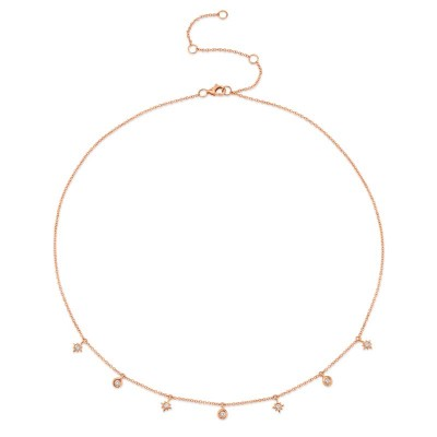 0.15ct 14k Rose Gold Diamond Star Necklace