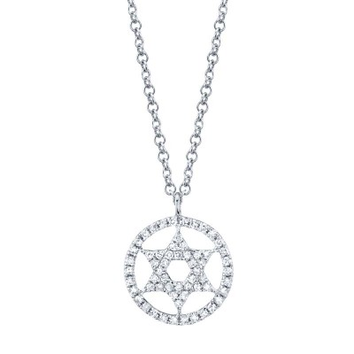 0.12ct 14k White Gold Diamond Star of David Necklace