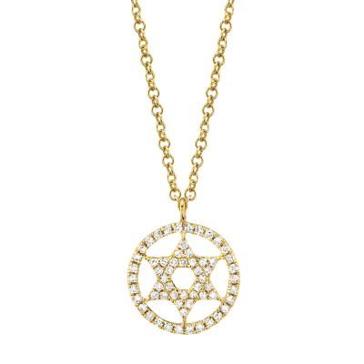 0.12ct 14k Yellow Gold Diamond Star of David Necklace