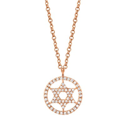 0.12ct 14k Rose Gold Diamond Star of David Necklace