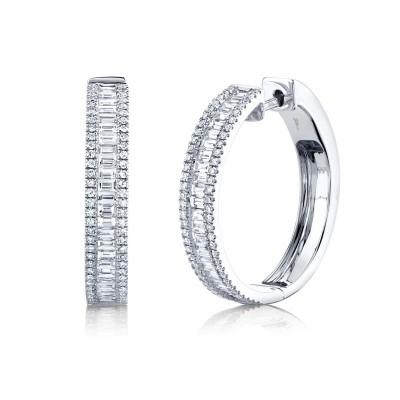 1.18ct 14k White Gold Diamond Baguette Hoop Earring