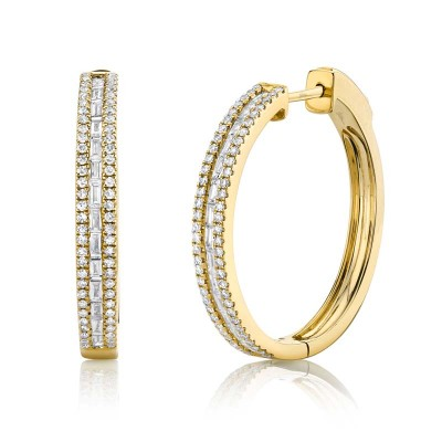 0.89ct 14k Yellow Gold Diamond Baguette Hoop Earring