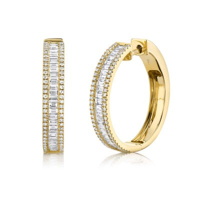 1.18ct 14k Yellow Gold Diamond Baguette Hoop Earring