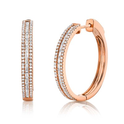 0.89ct 14k Rose Gold Diamond Baguette Hoop Earring