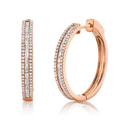 0.89ct 14k Rose Gold Diamond Baguette Hoop Earring