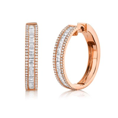 1.18ct 14k Rose Gold Diamond Baguette Hoop Earring