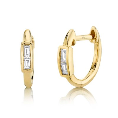 0.10ct 14k Yellow Gold Diamond Baguette Huggie Earring