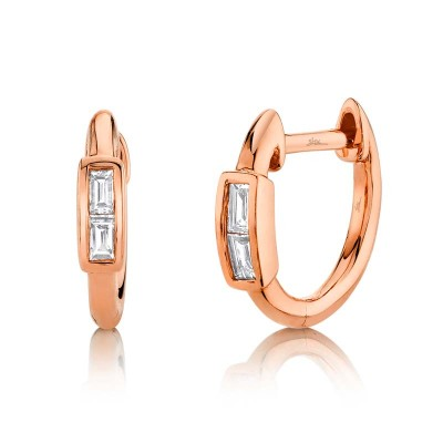 0.10ct 14k Rose Gold Diamond Baguette Huggie Earring