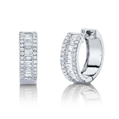 0.49ct 14k White Gold Diamond Baguette Huggie Earring
