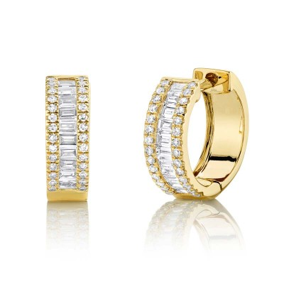 0.49ct 14k Yellow Gold Diamond Baguette Huggie Earring