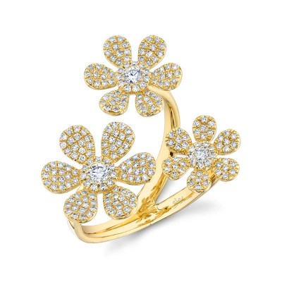 0.62ct 14k Yellow Gold Diamond Flower Ring