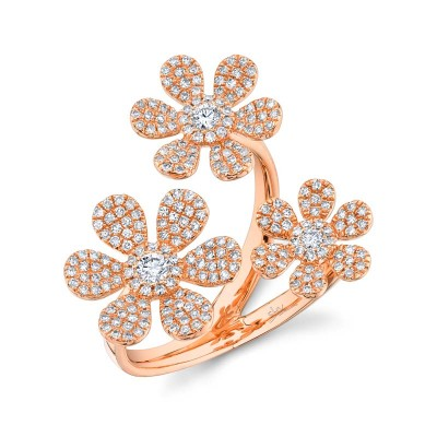 0.62ct 14k Rose Gold Diamond Flower Ring