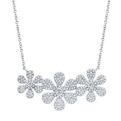 0.62ct 14k White Gold Diamond Flower Necklace