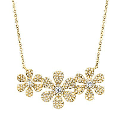0.62ct 14k Yellow Gold Diamond Flower Necklace