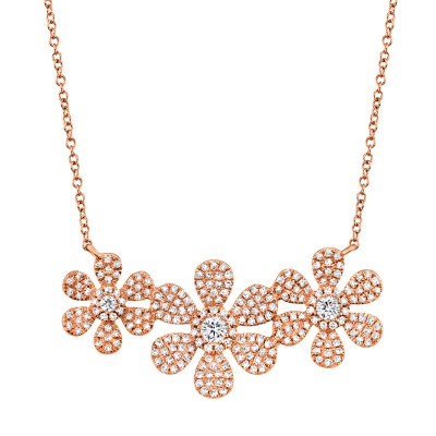 0.62ct 14k Rose Gold Diamond Flower Necklace