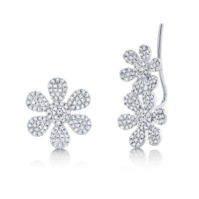 0.62ct 14k White Gold Diamond Flower Ear Crawler & Stud