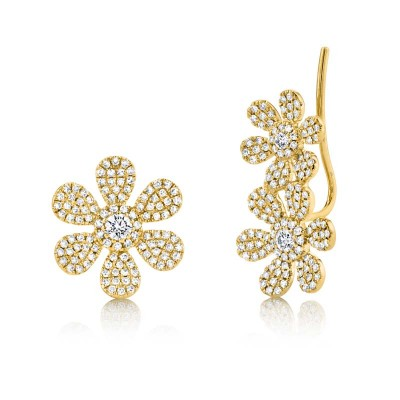 0.62ct 14k Yellow Gold Diamond Flower Ear Crawler & Stud