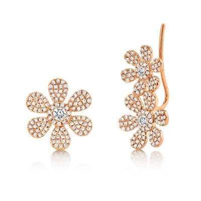 0.62ct 14k Rose Gold Diamond Flower Ear Crawler & Stud