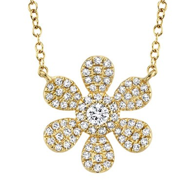 0.24ct 14k Yellow Gold Diamond Flower Necklace