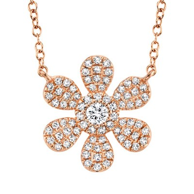 0.24ct 14k Rose Gold Diamond Flower Necklace