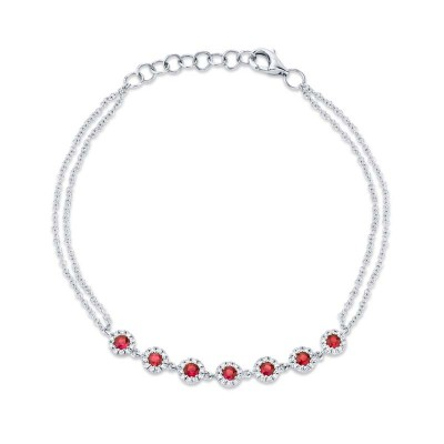 0.21ct Diamond & 0.52ct Ruby 14k White Gold Bracelet