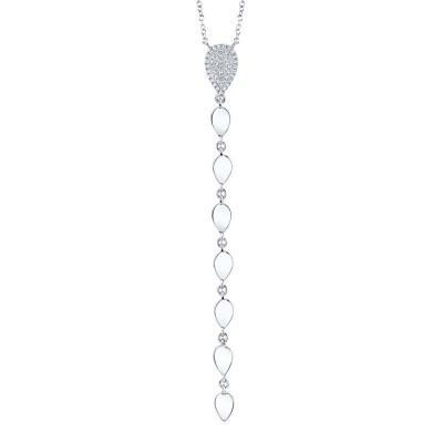 0.11ct 14k White Gold Diamond Lariat Necklace