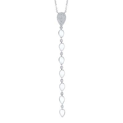 0.11ct 14k White Gold Diamond Lariat Necklace