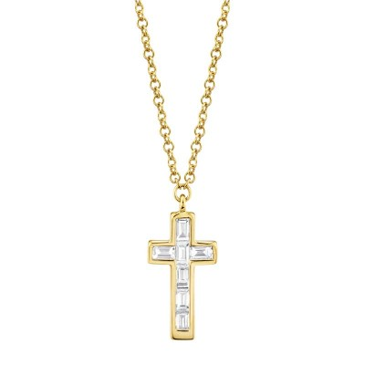 0.17ct 14k Yellow Gold Diamond Baguette Cross Necklace