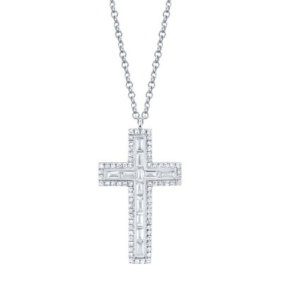 0.31ct 14k White Gold Diamond Baguette Cross Necklace