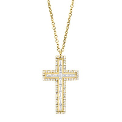0.31ct 14k Yellow Gold Diamond Baguette Cross Necklace