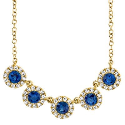 0.16ct Diamond and 0.49ct Blue Sapphire 14k Yellow Gold Lady's Necklace